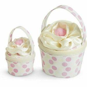 Cupcake bag purse vintage case polka dot cherry